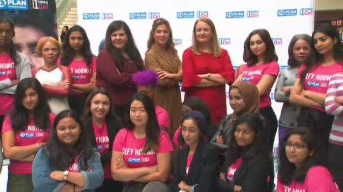 Sophie Gregoire Trudeau poses with youth ambassadors for Plan International Canada in Toronto.