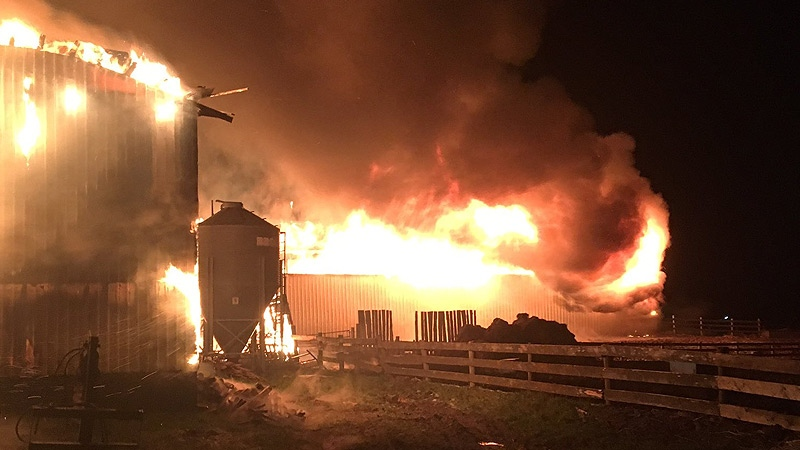 Firefighters from the Millet Fire Department worked through the night to put out a destructive fire at a dairy barn located east of Millet. (Twitter/Millet Fire Dept.)