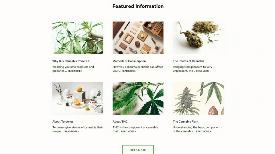 A screenshot image taken from the Ontario Cannabis Store website.