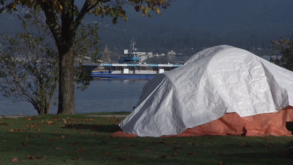 A tent is seen in Vancouver in this image from Oct. 11, 2018.