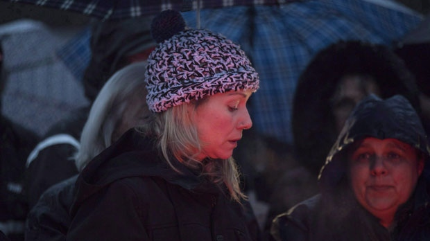 Ontario Provincial Police laid the charges nearly eight months after Kaden Young drowned in the Grand River near Orangeville, Ontario. Michelle Hanson attends a vigil for her son Kaden Young in Belwood, Ont., Wednesday, April 25, 2018. Police say they've now charged Young's mother, Michelle Hanson, with impaired driving causing death, dangerous driving causing death, and criminal negligence causing death. THE CANADIAN PRESS/Chris Young