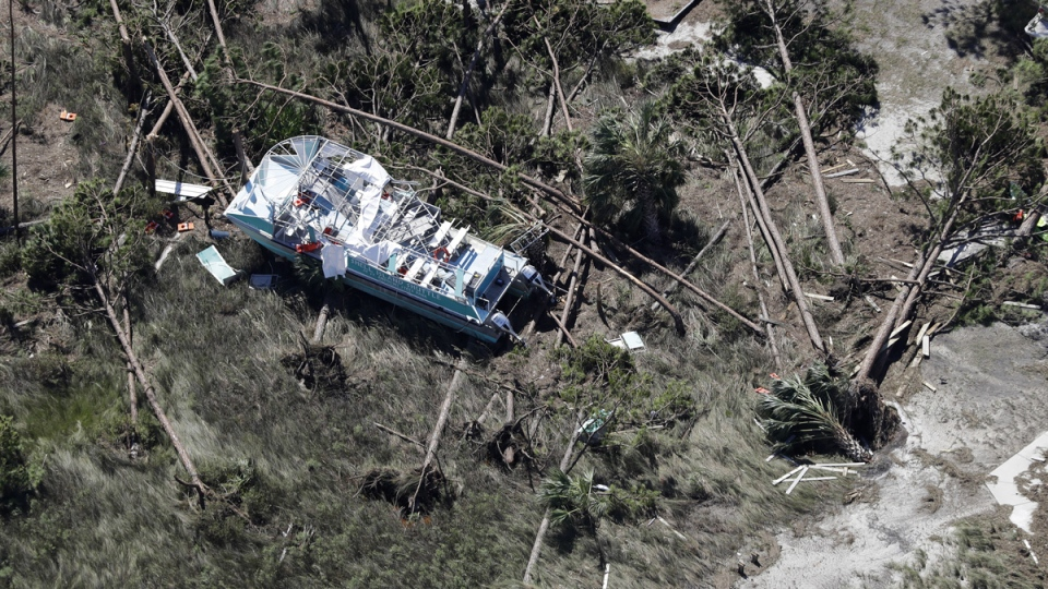 A boat destroyed by Hurricane Michael in Mexico Beach, Fla., on is shown in this aerial photo Thursday, Oct. 11, 2018, (Chris O'Meara / AP)