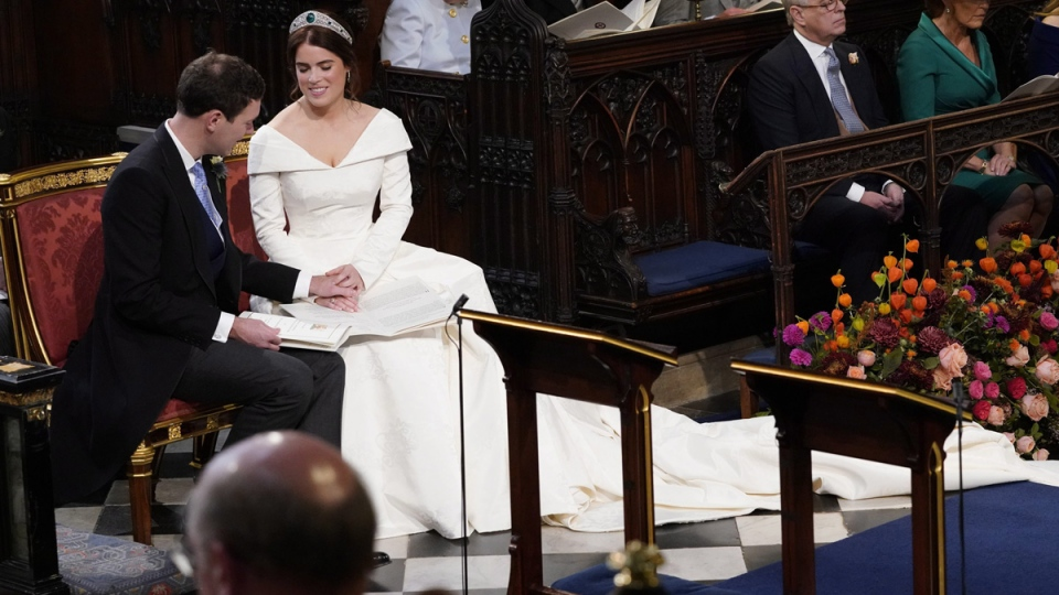 Princess Eugenie and Jack Brooksbank during their wedding ceremony in St George's Chapel, Windsor Castle, on Oct. 12, 2018. (Danny Lawson / Pool via AP)