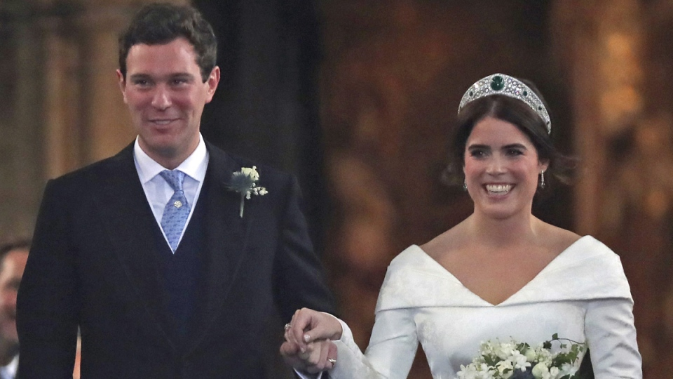 Princess Eugenie of York and Jack Brooksbank after their wedding ceremony at St George's Chapel, Windsor Castle, on Oct. 12, 2018. (Steve Parsons, Pool via AP)