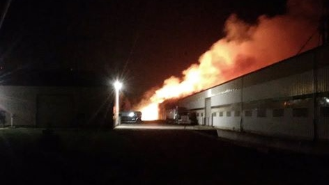 Barn Fire near Aylmer. (Courtesy CTV Viewer)