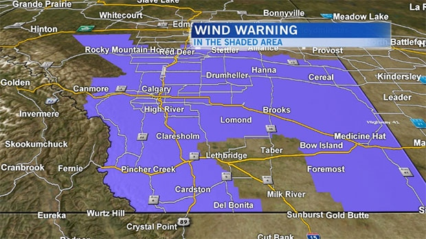 Environment Canada has issued a wind warning and says winds could exceed 90 km/h in some areas on Friday.