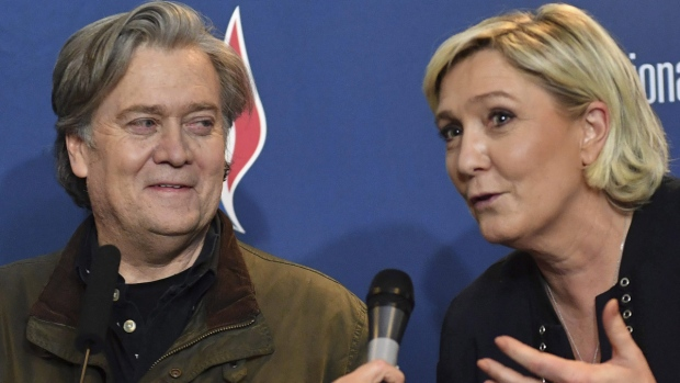 Marine Le Pen and Steve Bannon