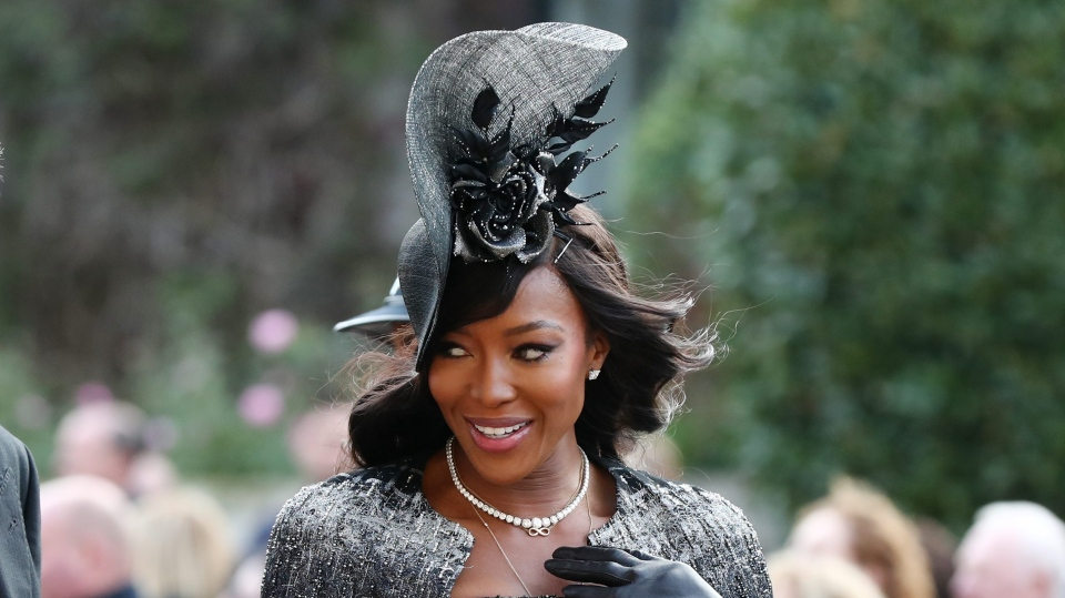 Naomi Campbell arrives ahead of the wedding of Princess Eugenie to Jack Brooksbank at St George's Chapel in Windsor Castle.