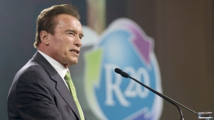 In this May 15, 2018 file photo, Arnold Schwarzenegger delivers a speech during the R20 Austrian world summit at the Hofburg palace Vienna, Austria. (AP Photo/Ronald Zak, File)