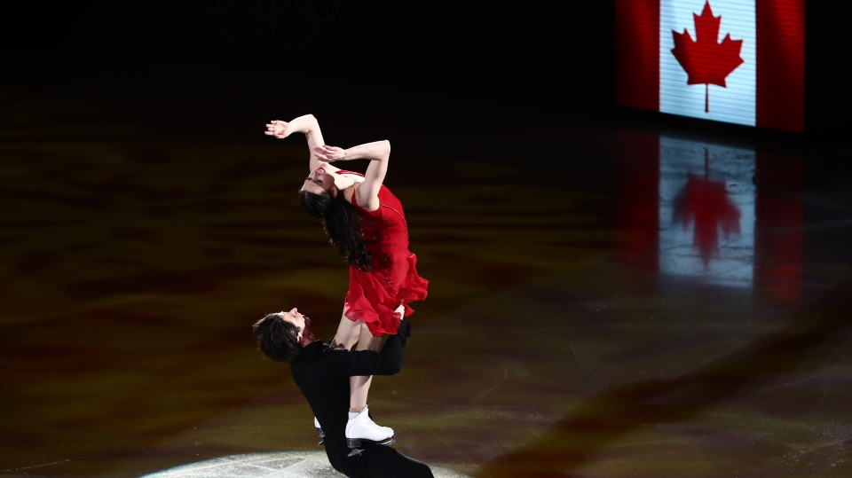 Pair skaters Tessa Virtue and Scott Moir of Canada perform during a figure skating exhibition gala at the 2018 Winter Olympic Games at Gangneung Ice Arena. (Valery Sharifulin/TASS)