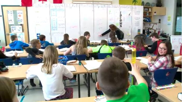 This file photo shows a Saskatchewan classroom full of students.