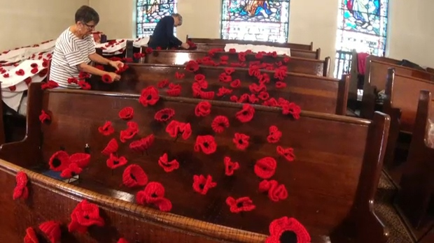 Members of the Cathedral Church of the Redeemer's knitting club affix some of the thousands of hand-knitted poppies to a display that will be draped over the church
