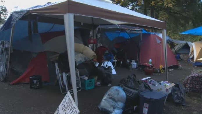 The group moved from Goldstream Park, where they camped for about three weeks, to a private property on West Saanich Road in early October – unbeknownst to the landowner. Oct. 12, 2018. (CTV Vancouver Island)