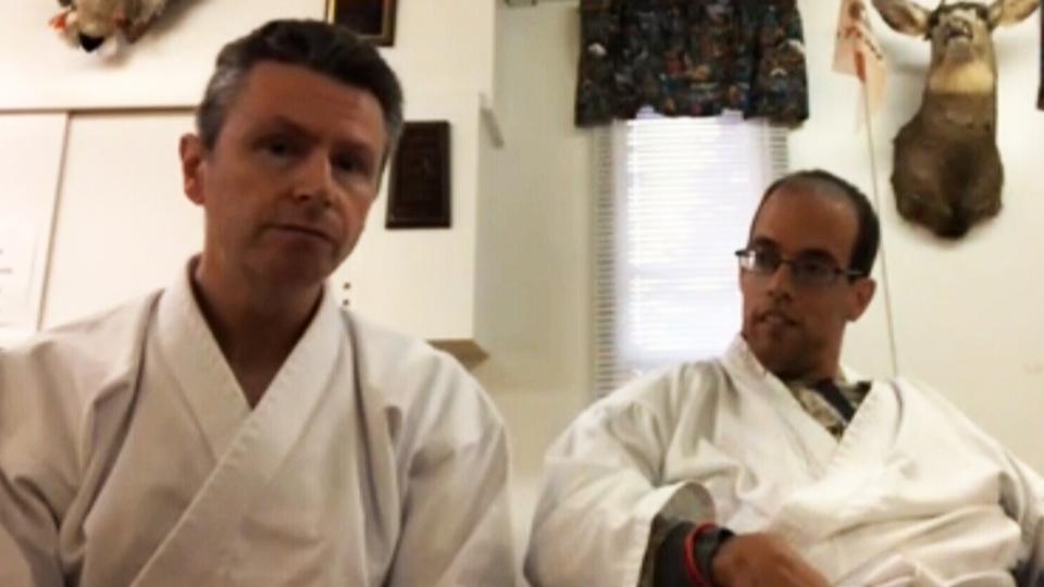 Karate teacher Brendan Breen (left) and his student Owen Reid speak to CTV News Channel on Oct. 12, 2018.