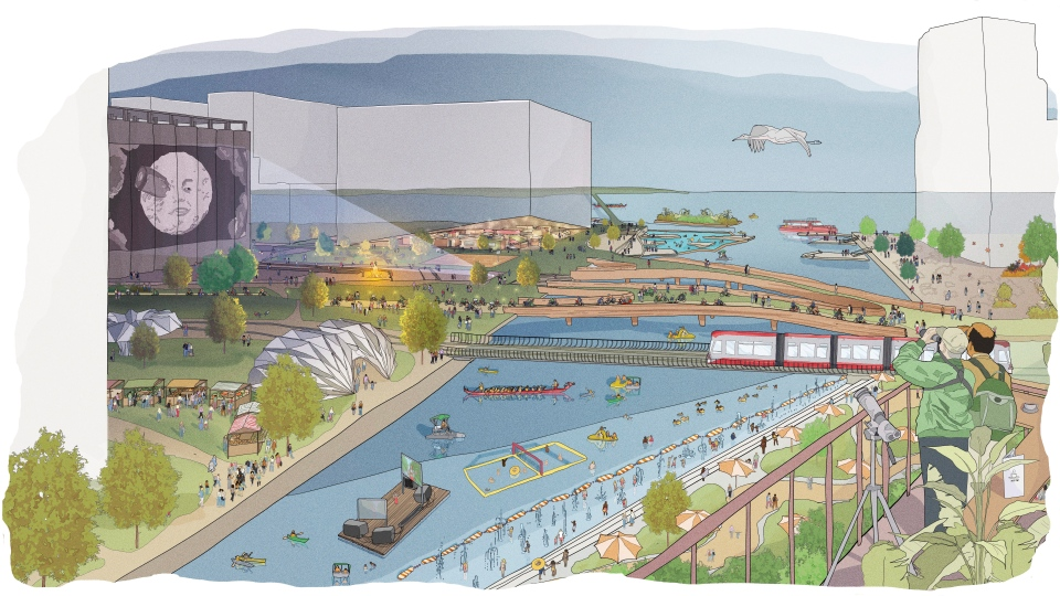 This illustration provided by Sidewalk Toronto shows the design for a proposed development of a rundown part of Toronto's waterfront. (Sidewalk Toronto via AP)