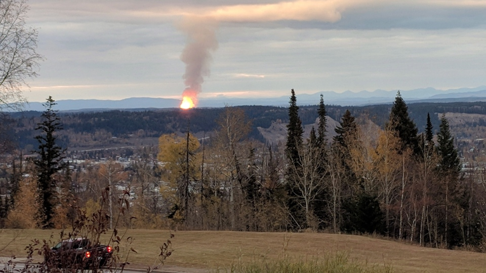 A pipeline that ruptured and sparked a massive fire north of Prince George, B.C. is shown in this photo provided by Dhruv Desai. (THE CANADIAN PRESS/HO-Dhruv Desai)