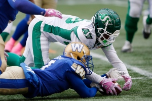 Winnipeg Blue Bombers' Kevin Fogg (3) jumps on the loose ball fumbled by Saskatchewan Roughriders' Caleb Holley (88) during the second half of CFL action in Winnipeg Saturday, October 13, 2018. THE CANADIAN PRESS/John Woods