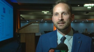 "Saskatchewan NDP leader Ryan Meili introduced his new climate change plan ""Renew Saskatchewan"" on Oct. 13, 2018 at the annual Saskatchewan NDP convention in Saskatoon."