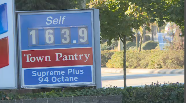Gas prices went up to 163.9 on Saturday, October 13, 2018.