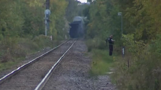 Police search the railway lines in the area of Wallace Avenue and Ward Street following a stabbing that injured two teens Sunday October 14, 2018.