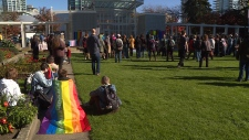 Several dozen people attended a rally in support of SOGI in front of the Burnaby Public Library on Sunday, Oct. 14.