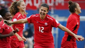 Canada forward Christine Sinclair (12) celebrates at the conclusion of a soccer match against Panama at the CONCACAF women's World Cup qualifying tournament in Frisco, Texas, Sunday, Oct. 14, 2018. (AP Photo/Andy Jacobsohn)