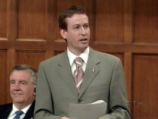 Dave Batters stands in the House of Commons in this photo taken from undated file footage.