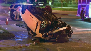 The driver of this car went off the road, hit a road sign, and this was the result. Emergency crews used the jaws of life to pry apart the wreckage and rescue the driver (CTV Montreal/Cosmo Santamaria)