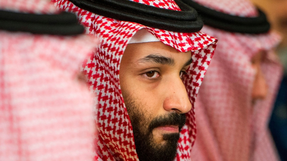 In this March 22, 2018, file photo, Saudi Crown Prince Mohammed bin Salman, centre, meets with U.S. Defense Secretary Jim Mattis, not pictured, at the Pentagon in Washington. (AP Photo/Cliff Owen, File)