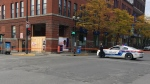 Police blocked the intersection of Guy and Notre Dame streets on Monday Oct. 15, 2018 after a driver struck a pedestrian (CTV Montreal/JL Boulch)