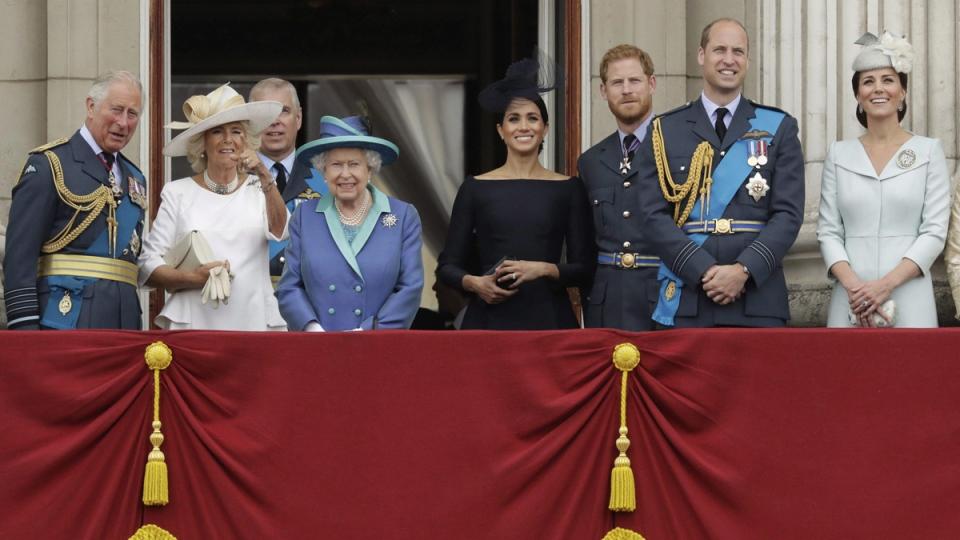 Members of the Royal Family gather on the balcony of Buckingham Palace, on July 10, 2018. (Matt Dunham / AP)