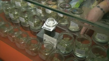 Jars of cannabis for sale in a marijuana store. Cannabis will be legally for sale in Canada on Oct. 17, 2018