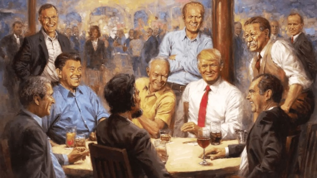 Netizens Poke Fun at 'Cringy' Fantasy Painting of Trump With GOP Presidents