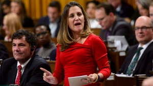 Minister of Foreign Affairs Chrystia Freeland stands during question period in the House of Commons on Parliament Hill in Ottawa on Monday, Oct. 15, 2018. THE CANADIAN PRESS/Sean Kilpatrick