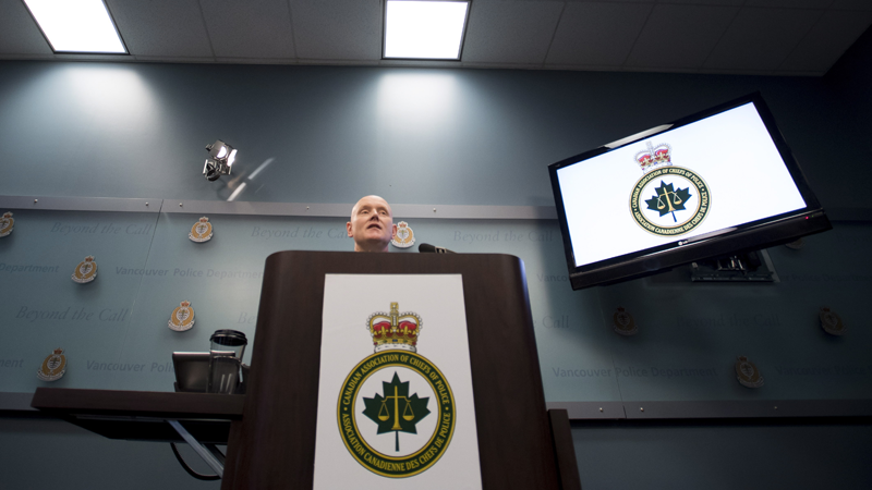 Chief Constable Adam Palmer, president of the Canadian Association of Chiefs of Police addresses a news conference in Vancouver, B.C. on Oct. 15, 2018. (THE CANADIAN PRESS/Jonathan Hayward)