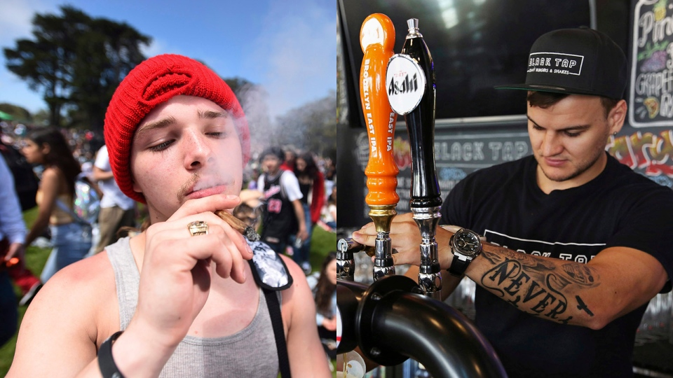 This compilation image shows an unnamed man smoking marijuana in San Francisco (on the left) and Dubai bartender Michael Zakharchenko (on the right). (AP Photo/Josh Edelson and AP Photo/Jon Gambrell)