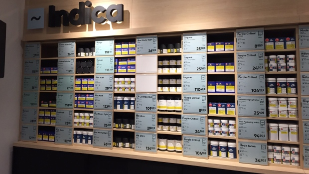 13 strains of indica cannabis are stored on shelves in an SQDC store in St. Hubert Plaza, ready for opening day (CTV Montreal/Cindy Sherwin)