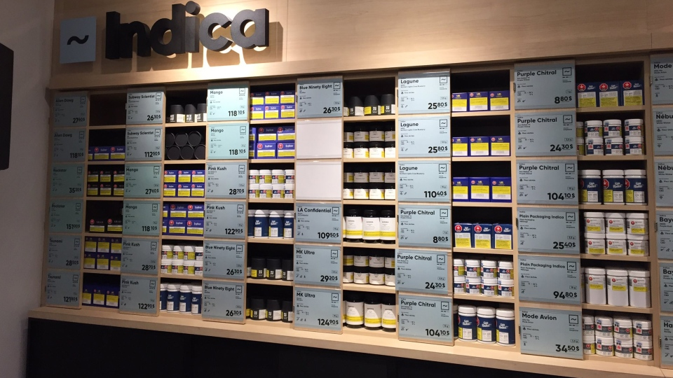 indica cannabis store shelves