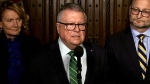 Public Safety Minister Ralph Goodale speaks to reporters in Ottawa, Tuesday, Oct. 16, 2018.