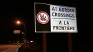 A sign near the Peace Arch Border Crossing reminds drivers not to bring marijuana to the U.S. (Len Saunders)