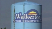 File shot of the Walkerton water tower from during the water scandal