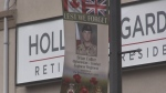 Banners decorate downtown Bradford, Ont. in memory of veterans on Tuesday, October 16, 2018. (CTV News/Craig Momney)