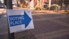 A sign marks the way to a Vancouver civic election poll in this photo from Oct. 16, 2018.