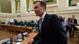 Finance Minister Bill Morneau arrives at the Standing Committee on International Trade on Parliament Hill in Ottawa, Tuesday October 16, 2018. (THE CANADIAN PRESS/Adrian Wyld)