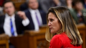 Minister of Foreign Affairs Chrystia Freeland stands during question period in the House of Commons on Parliament Hill in Ottawa on Monday, Oct. 15, 2018. (THE CANADIAN PRESS/Sean Kilpatrick)
