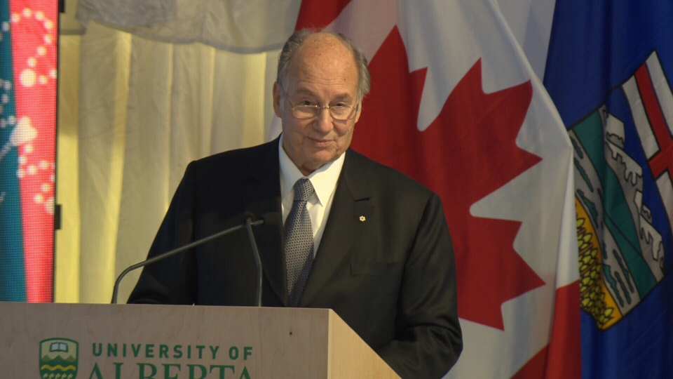 The Aga Khan addresses the crowd at Tuesday's inauguration of the University of Alberta's Aga Khan Garden.
