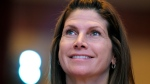 In this Feb. 12, 2011, file photo, then-Rep. Mary Bono, R-Calif., listens at the Conservative Political Action Conference (CPAC) in Washington. Former California Congresswoman Bono announced her resignation Tuesday, Oct. 16, 2018, as the interim president at USA Gymnastics after just four days on the job. (AP Photo/Cliff Owen, File)
