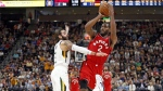 Toronto Raptors forward Kawhi Leonard shoots in Salt Lake City on Oct. 2, 2018. (Rick Bowmer / THE CANADIAN PRESS / AP)