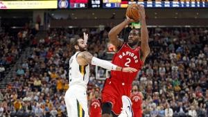 Toronto Raptors forward Kawhi Leonard shoots in Salt Lake City on Oct. 2, 2018. (Rick Bowmer / THE CANADIAN PRESS / AP)