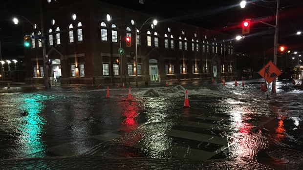 A watermain break has shut down a large area near the Distillery District. (Mike Nguyen/ CP24)